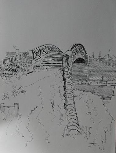 Philip Adams: Roving Bridge, Windmill End. early 1970's. Pen & ink