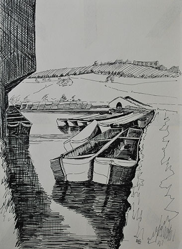 Philip Adams: Coombs Wood basin (Hawne Basin). April 1967. Pen & ink.