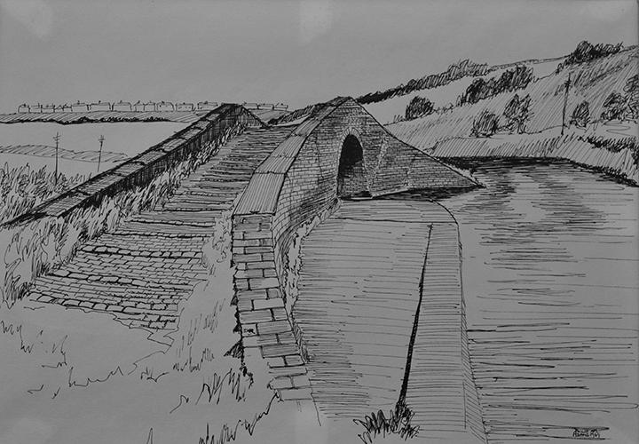 Philip Adams: Hawne Basin, Burton Bridge. 1967. Pen & ink.