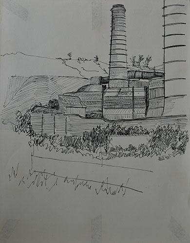 Philip Adams: Doulton's pottery kilns and stacks. April 1967. Pen & ink.