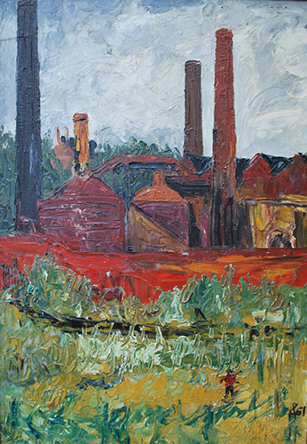 Philip Adams: Doulton's pottery works. 1967. Oil.