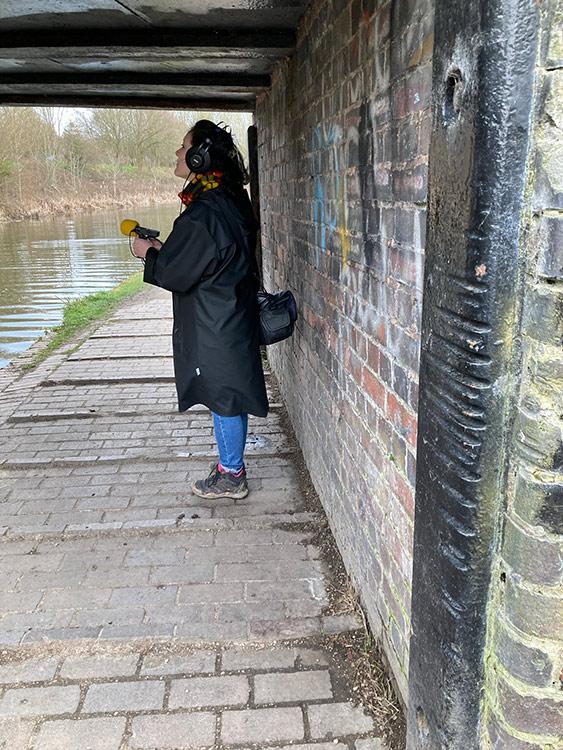 Sam recording, Bullfield Bridge 2021 (Heather Wastie)