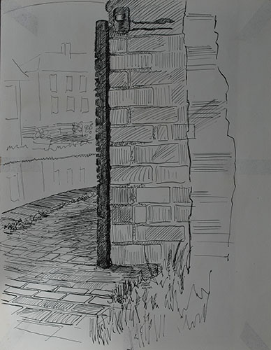 Philip Adams: Bridge fender on bridge opposite the Doulton pottery. April 1967 Pen & ink