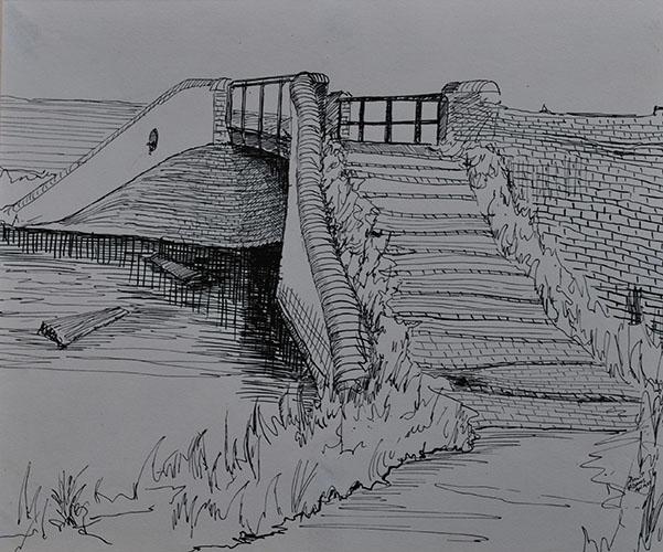 Philip Adams: Canal arm bridge, opposite Doulton pottery. April 1967. Pen & ink.