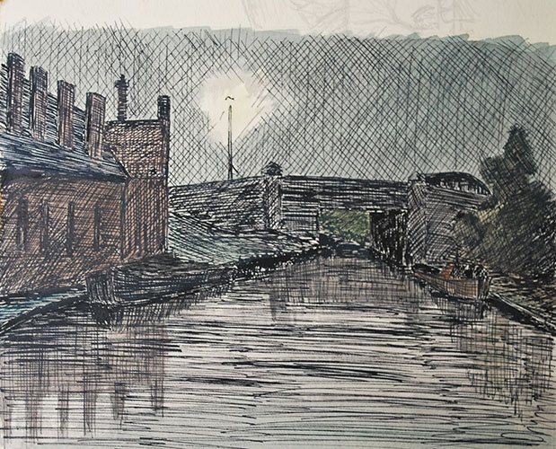 Philip Adams: Waterfall Lane bridge at night. Circa 1958. Pen & ink.