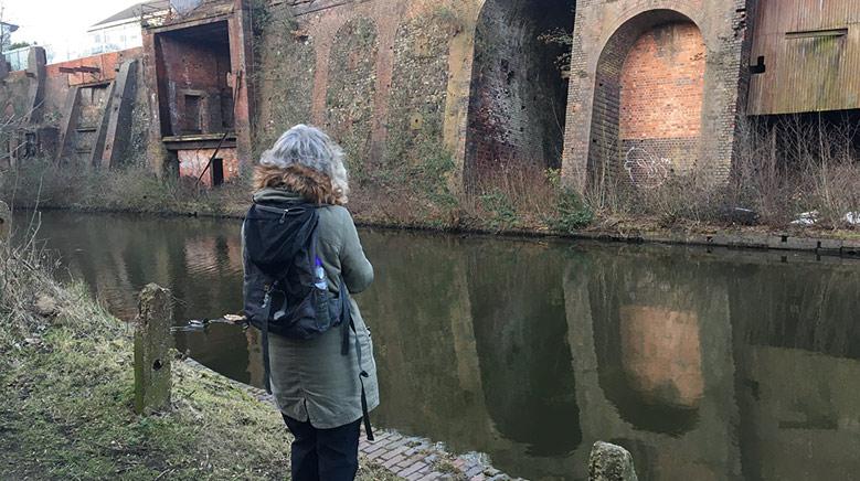 Heather at site of Stewarts & Lloyds 2021 (Sam Frankie Fox)