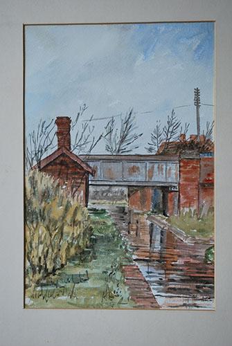 Philip Adams: Gosty Hill Bridge & gauging hut. 1967. Watercolour.